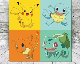 Starter Pokemon Canvas Print -Pikachu, Bulbasaur, Charmander, Squirtle - Custom Wall Art
