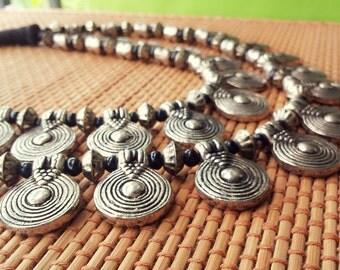Silver Necklace/Statement Necklace/Boho Tribal Necklace/Beaded Necklace/Chunky Bib Necklace/Bohemian Necklace