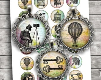 Victorian Steampunk Digital Collage Sheet 35mm 1.25 inch 30mm 1 inch 1.5 inch Printable Download - Instant Download