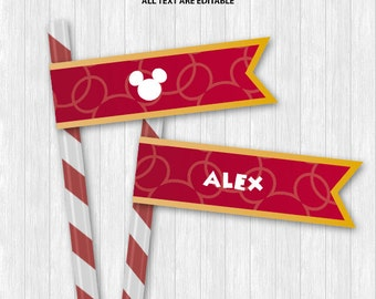 Mickey Mouse Straw Flags