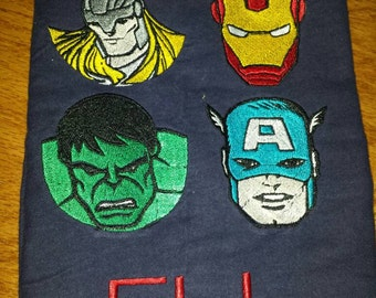 Avengers Thor Ironman Captain America Hulk FILLED Embroidery Design DIGITAL DOWNLOAD 6x10 6x6 4x4