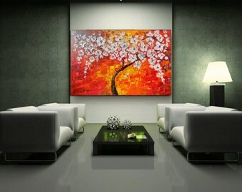 Tree of life  original painting  Modern art  large landscape  acrylic abstract, flowers  Ready to hang . textured Palette Knife red white .