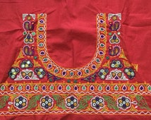 Indian blouse red fabric in handembroidery from kutch/ banjara textiles/ indian embroideries/ kitch crafts/ craftsofgujarat