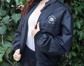 Vintage 80's Whang® Members Only style Mine Rescue, First Aid, Pyro Mining black jacket