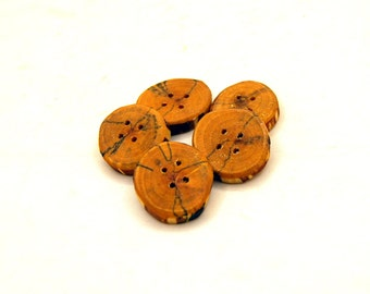 Set of 5 wooden buttons, Spalted birch wood, handmade buttons,Buttons of spalted wood,1 inch buttons,Branch buttons,Craft accessories  #4