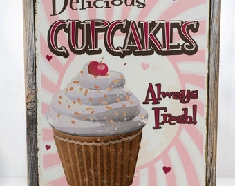 Framed Delicious Cupcakes Metal Sign, Retro Diner Decor, Kitchen Décor  HB7003F