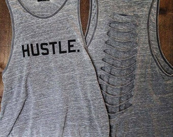 HUSTLE. Burnout Muscle Tee with cut up back in Charcoal/Black, Workout Top, Muscle Tank, yoga tank