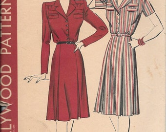 Vintage 1940s Hollywood Sewing Pattern 987 - Misses' One-Piece Dress size 14 bust 32