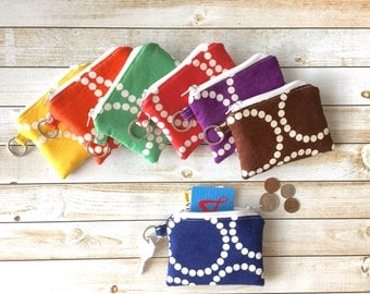 Pearl Bracelet Bright Colors Padded Coin Purse Keychain Zipper Coin Pouch Change and Card Wallet Stocking Stuffers