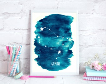 Gemini Zodiac Constellation– Wall Art - Alcohol ink/Mixed Media Poster Print