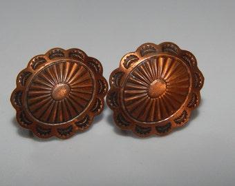 Vintage Copper Earrings Oval Earrings Copper Screw On Earrings