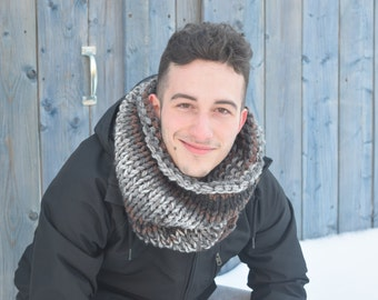 Men tube scarf | Winter scarf | Knitted wool scarf | Knit accessories | Tube scarf | Warm chunky cowl | Hot neckwarmer | Black grey brown |