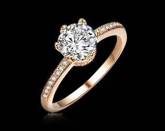 1.25 ct Rose Gold Engagement Ring Wedding Ring Promise Ring CZ Diamond Ring Cubic Zirconia Ring Accent Ring Classic Gold Ring, AJR0121A