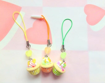 On Sale Tiny Cupcake Charms, Kawaii Polymer Clay Charm, Cute Phone Charm, Cup Cake Dust Plug, Fake Food Miniature, Pastel Heart Phone Strap