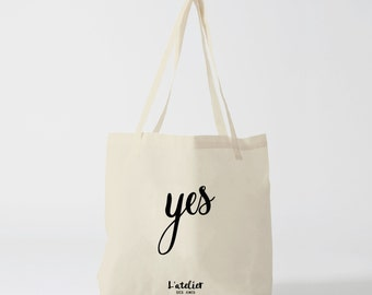 X178Y tote bag YES, shopping bag, bread bag, shopping bag, bag for courses, bag to offer graphic bag, cotton bag, tote bag