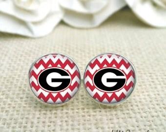 University of Georgia Earrings, Georgia Bulldog Earrings, UGA Jewelry, UGA Earrings, Red Chevron Studs