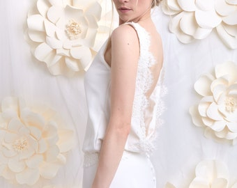 Romantic wedding dress, silk and French lace