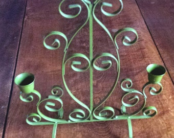 Vintage 1970s Retro Avocado Green Metal Candelabra/Sconce