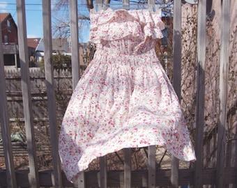 Vintage 1990s Floral Ruffled Strapless Summer Dress / Boho / White, Pink, Green