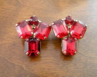 Weiss Red Rhinestone Earrings, Weiss Rhinestone Earrings, Weiss Emerald Cut Red Rhinestone Earrings, Weiss Emerald Cut Rhinestone Earrings