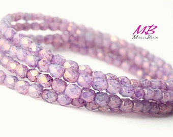 50 4mm Light Purple Faceted Glass, Czech Fire Polished