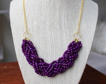 Purple Statement Necklace with Gold Chain, Purple Braided Bead Necklace, Purple Multistrand Necklace, Gold Chain
