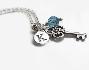 Graduation gift, birthstone initial necklace,jewellery, 18th birthday gift, birthday necklace, silver jewellery