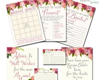 Bridal Shower Games Printable, Bridal Shower Games, Shower Games, Shower Printables, Watercolor Flowers Vintage Blush INSTANT DOWNLOAD