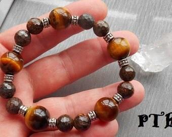 "Grounding/Confidence/Focus ~ Authentic Faceted Bronzite & Golden Tiger Eye Gemstone Bracelet 8"""