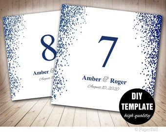 Wedding Table Numbers Template,Printable Table Card Template,5x5 Foldover,Confetti Wedding Table Numbers,Navy Blue Table Numbers Template