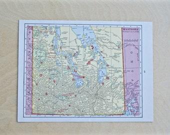 1925 - Manitoba Map - Antique Cram's Atlas Map - Vintage Manitoba Map - Old Atlas Map - Small Antique Map
