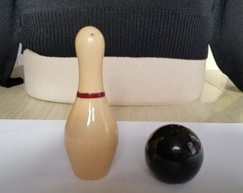 Vintage Bowling Pin and Bowling Ball Salt and Pepper Shakers