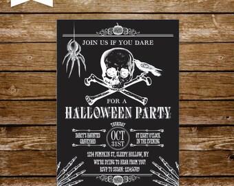 halloween invite halloween invitation printable vintage skull invitation adult halloween bash halloween party spider skulls skeletons  133