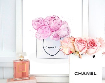 Chanel Print Peonies Bag. Watercolor artwork. Fashion Illustration. Modern Home Décor.