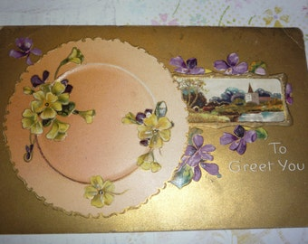 To Greet You Antique Embossed Postcard