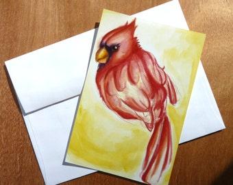 Cardinal On Yellow - 4x6  Print of an Original Watercolor Painting
