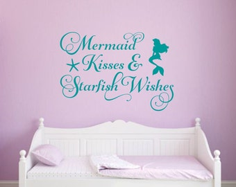 Mermaid Kisses Wall Decal Starfish Wishes Wall Decal Vinyl - Beach vinyl decals