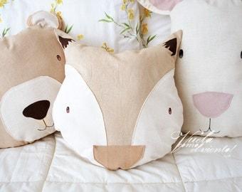 Fox cushion Natural Dye-cushions, children's decor, fox, woodland, fabric, handmade, Eco, Spring, decor, decoration, cushion, Fox