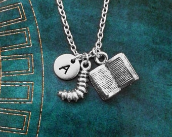 Book Necklace SMALL Book Jewelry Bookworm Necklace Book Worm Necklace Reading Necklace English Literature Teacher Necklace Book Club Jewelry