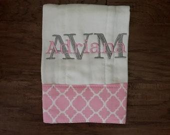 Burp Cloth. Baby Burp Cloth. Diaper Burpcloth/Cloth diaper Burp / pink quatrefoil - single diaper burp - Baby Shower- Baby Gift - Newborn