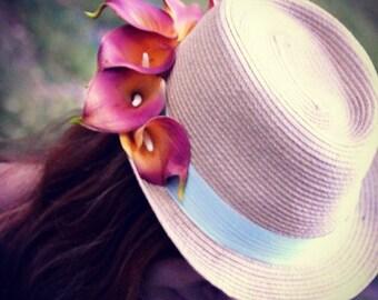 Flower hat , silk ribbon, flower, lily hat