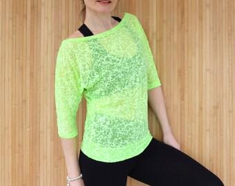 Lime Green Yoga Top, Pilates Top, Yoga Tee, Burnout Jersey Tee, Loose Slouchy Top, Womens Activewear