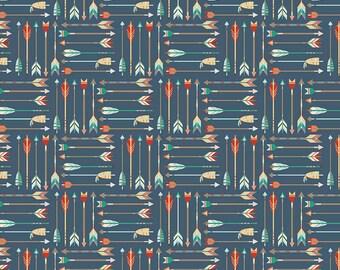 Arrow Fabric, High Adventure, Riley Blake C5551 Blue, Wilderness Fabric, Design by Dani, Colorful Arrows on Dark Blue, Cotton