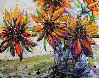 Sunflower Blooms #1, Original Multimedia Painting