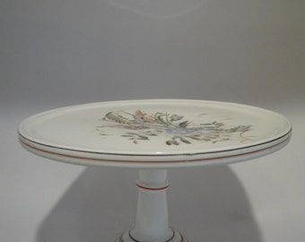 Antique Hand Painted Floral Milk Glass Cake Pedestal Stand