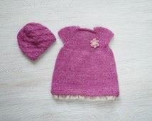 15-16 inch waldorf doll clothes, clothing set, hand knit Dress & Hat