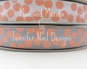 US Designer Coral Polka Dot Ribbon - Coral Ribbon - Grey Ribbon - Silly Dot Ribbon - Glitter Print Ribbon - Bow Making Supplies - Dog Collar