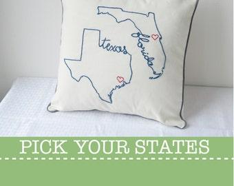State Pillow Cover Texas Florida Decorative Throw Custom Embroidered, United States Ohio Washington California New York Carolina Gift