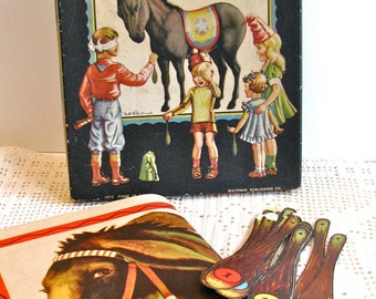 Vintage Pin The Tail On The Donkey Party Game Whitman in Box