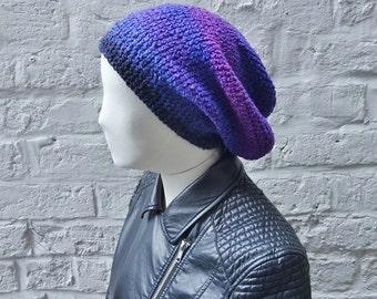 Slouchy crochet beanie - silk wool slouchy hat - purple, pink - ready to ship